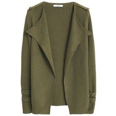 Mango Cotton Blend Textured Cardigan, Khaki (€47) ❤ liked on Polyvore featuring tops, cardigans, outerwear, jackets, long sleeve tops, brown cardigan, textured cardigan, long sleeve cardigan and mango cardigan