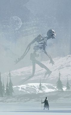 Undead Giant concept art by Christian Bravery aka The Brave. #undead #illustration #conceptart Guessing this is what the giant skeletons in icecrown look like.: