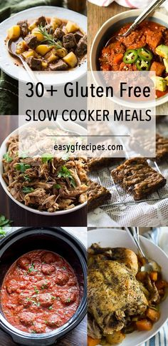 30+ Recipes for healthy gluten free slow cooker meals! Recipes include slow cooker paleo stew, baked apples, spare ribs and bolognese.