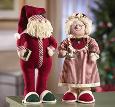 Mr. & Mrs. Santa Claus Country Christmas Rag Dolls