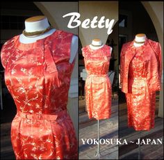 Jahrgang Orange Kleid legen 2pc feine Seide von DecadencePast