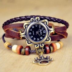 Leather Bracelet Watch Women Dress Watches leaf Pendant Vintage