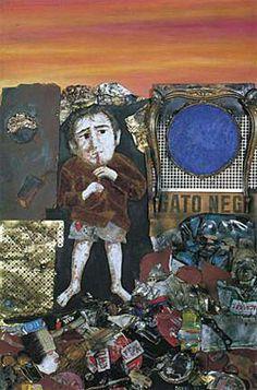 Juanito tocando la flauta, 1973, óleo, yeso, cartón, tela, y metal, 160 x 105,5 cm. Col. privada Social Realism, Painting Collage, Paintings, Edgar Degas, How To Get Away, Minnie, Sculptures, Happy Birthday, Baseball Cards