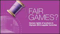 Olympic sportswear for London 2012 Fair Games, Textile Industry, Supply Chain, Olympics, Sportswear, London, London England