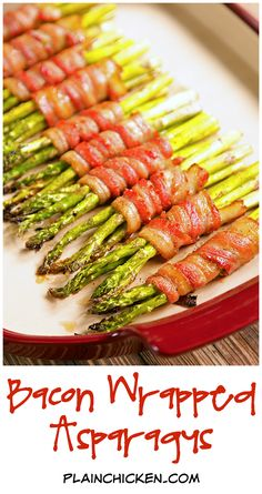 Bacon Wrapped Asparagus Recipe - fresh asparagus wrapped in bacon, topped with a sweet and savory sauce and baked. Can wrap asparagus in bacon ahead of time and refrigerate. Great for dinner parties and a quick weeknight side dish! Asparagus In Oven, Asparagus Bacon, Chicken Asparagus, How To Cook Asparagus, Fresh Asparagus, Asparagus Recipe, Bacon Wrapped Asparagus Baked, Bacon Recipes, Vegetable Recipes