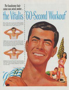 Vintage 1947 Grinning Handsome man in Vitalis hair
