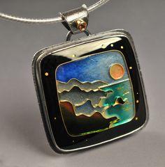 "Joan Tenenbaum | Headlands Moon I Enameled Pendant - 24K Cloisonne Enamel, 14K Gold, Fine Silver, Orange Sapphire, Sterling 18"" Omega Chain, Sterling Silver"
