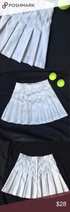 """Nike White Pleated Tennis Skirt Super cute Nike Tennis skirt in perfect condition; no rips, tears, snags, or stains. Great for tennis, golf, or just stylin'! Back has an inside button and outside button plus a zipper. Not stretchy like dri-fit, 100% polyester. Around the waist is 25"""" and the length is 15"""". Comes from a smoke-free environment, hit the offer button :) Nike Skirts"""