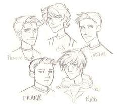 The boys: Percy Jackson, Jason Grace, Leo Valdez, Frank Zhang and Nico Di…