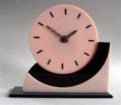 Lucite Pink & Black Art Deco Clock
