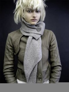 I love the messy bob with bangs & the chic, fitted & textured garments.