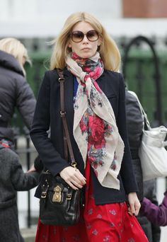 Claudia Schiffer Patterned Scarf - Claudia Schiffer Looks - StyleBistro