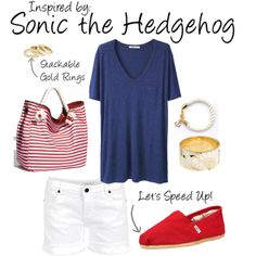 Sonic the Hedgehog by ladysnip3r featuring Aaiko shorts  I'm waittttttttinggggggg….for you to rock this super comfy outfit. It's a nautical take on Sonic the Hedgehog. (Reference Image)