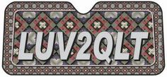 LUV2QLT Automobile Window shade.  purchase at Suzanne's quilt shop