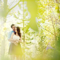 Whimsical engagement shoot, with yellow aspens everywhere!