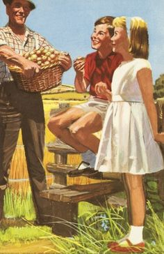 Basket of apples - Peter And Jane, Out in The Sun..