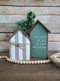 Rainbow Library, Green And Grey, Gray, Mermaid Nursery, Bless The Food, Wood Houses, We Love Each Other, Nursery Signs, Beaded Garland