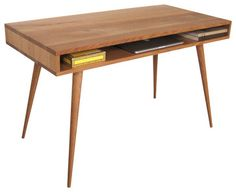 Mid Century Desk With Wood Legs, 60 L X 24 W X 29 H midcentury-desks-and-hutches