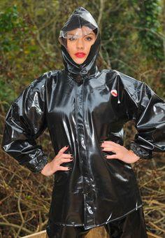Black PVC Hooded Rain Jacket