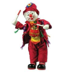 """Clown Figurine Music Box With Drum by Banberry Designs. $25.88. This ceramic doll plays """"I got Rhythm."""". Made of ceramic holding bright red ceramic drums.. Great for collectors.. Clown is 12 inches tall.. The perfect gift for a clown lover or a lovely addition to collections. A beautiful 12 inch tall ceramic clown doll, holding a bright red drum plays """"I Got Rhythm."""""""