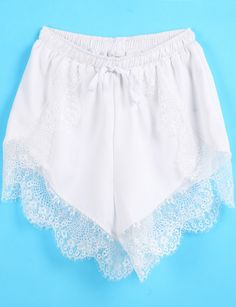 White Elastic Waist Contrast Lace Shorts pictures