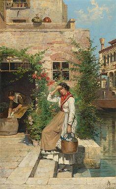 Antonietta Brandeis (1849-1910) - Venezianische Wäscherin am Kanal (Venetian Washerwoman along the Canal)