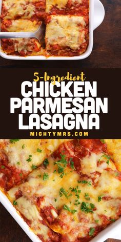 You'll love this delicious and easy Chicken Parmesan Lasagna. Just 5 ingredients! A quick and easy weeknight dinner. A twist on traditional lasagna, this one-pan meal is made with cooked crispy chicken, red sauce, and Parmesan and mozzarella cheeses. Use leftover, rotisserie, frozen, crispy or grilled chicken. This easy chicken lasagna is freezer friendly and makes a perfect meal for new moms, grieving families or to welcome neighbors. A super easy chicken dinner recipe. Just 10 minutes to… Easy Chicken Parmesan, Easy Chicken Dinner Recipes, Brunch Recipes, Soup Recipes, Traditional Lasagna, Chicken Lasagna, Kids Menu, Easy Weeknight Dinners, Holiday Recipes