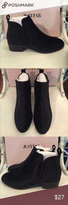 NWT Just Fab Black Suede Boots 8.5 NWT Just Fab Black Suede Boots. Size 8.5 Women's. Bought online and need a smaller size. My loss is your gain! JustFab Shoes Ankle Boots & Booties