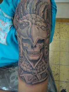 AZTEC SKULL TATTOO Aztec Tattoos Sleeve, Shoulder Sleeve Tattoos, Aztec Tribal Tattoos, Aztec Tattoo Designs, Geometric Tattoos, Mayan Tattoos, Mexican Art Tattoos, Polynesian Tattoos, Quetzalcoatl Tattoo