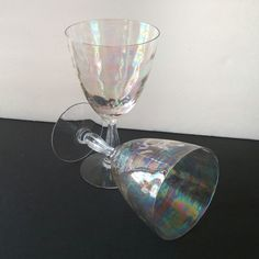 Vintage iridescent wine glasses, share your wedding day toast with this beautiful set of stemware....or plan a romantic dinner and sip the night away with them!!!