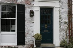 Existing front door in Farrow & Ball's Hague Blue. The door surround is in Wimborne White. (Existing white on window and window panel are NOT in Wimborne White.) BM Swiss Coffee is close to the F&B Wimborne White. Front Door Colors, Front Door Decor, Farrow And Ball Paint, Farrow Ball, Hague Blue, Front Door Makeover, Stair Landing, Brick Design, Colorful Garden