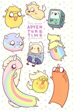 Cute little Chibi adventure time fin and jake and unicorn baby's