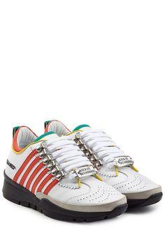 #Dsquared2 #Sneakers aus #Leder #im #Color #> #Block #> #Look #> #Multicolor für #Damen - Der coole Fashion > Kick für Casual > Looks: die Sneakers aus Leder im Color > Block > Look von Dsquared2  >  Leder in Weiß, Rot, Orange, Gelb und Türkis und Grau, runde Zehenkappe mit Perforation, weiße Schnürsenkel mit Metallic > Logo, Zugschlaufe  >  Textil > Innensohle, Laufsohle aus Gummi in Schwarz  >  Tragen wir im coolen Stilbruch zum Minirock und einem Print > Shirt