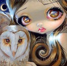 Fairy Face 176 Jasmine Becket-Griffith Big Eye Owl Moon Fairy SIGNED 6x6 PRINT in Art | eBay