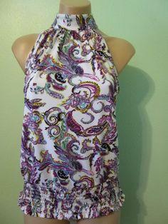 Cato High Neck Sleeveless Top sz S Purple Aqua White Paisley print Smocked Hem