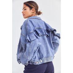 BDG Ruffle Denim Trucker Jacket ($89) ❤ liked on Polyvore featuring outerwear, jackets, bdg jacket, jean jacket, denim jackets, oversized denim jacket and pocket jacket