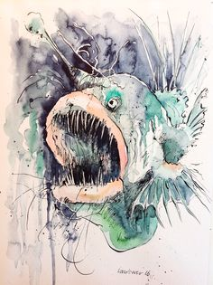 Angler fish in pen and ink with watercolour