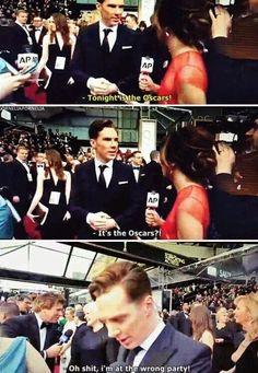 Haha!  I love him!!!  Benedict #Oscars2014