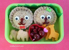 What a cute idea -- lion sandwiches! Use mini pocket pie molds to make the shapes.