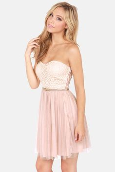 Perfect for Summer Nights Out!      Pretty Blush Pink Dress - Strapless Dress - Lace Dress - $45.00