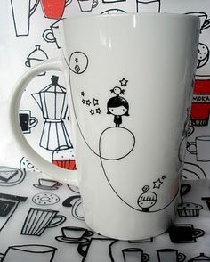 mug art Free idea Sharpie Projects, Sharpie Crafts, Diy Projects, Pottery Painting, Ceramic Painting, Sharpie Cup, Pebeo Porcelaine, Mug Art, Diy Mugs