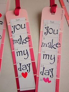 Valentines bookmarks using paint chips and calendars or for any occasion with any color. Looks like ill be raiding the local Lowe's soon.