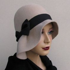 Grey wool cloche hat by katarinacouture on Etsy. like profile shot with bright l...