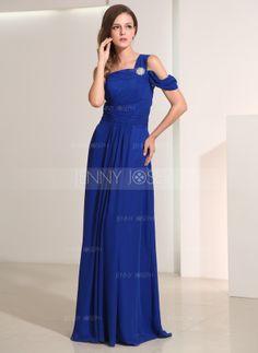 Corte A/Princesa Un sólo hombro Vestido Gasa Vestido de festivo con Alfiler Flor Cristal (020014193)