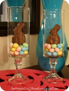 EASTER:  Table centerpiece.  Hurricane lamps filled with jelly beans or malted milk balls and chocolate bunnies.  You could also use Easter grass instead of the candy.