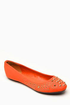 Bamboo Studded Rhinestone Orange Faux Suede Flats @ Cicihot Flats Shoes online store:Women's Casual Flats,Sexy Flats,Black Flats,White Flats...