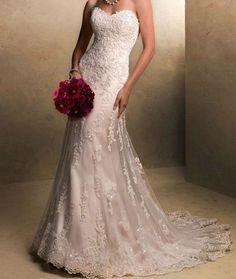 The latest fishtail wedding dress lace bridal gown by VEILDRESS, $158.00   It's elegant and timeless.