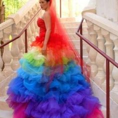 2015 Haute Couture Rainbow Wedding Gown Dress Formal Ball Runway Fashion Ruffled Tulle Skirt Bridal Gowns With Sweetheart Rainbow Wedding Dress, Colored Wedding Dresses, Wedding Colors, Wedding Gowns, Bridal Gowns, Rainbow Dresses, Organza Bridal, Tulle Wedding, Wedding Ideas