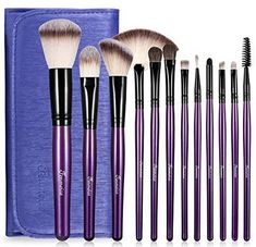 Makeup Brushes Set with Travel Bag, Purple 12 PCS Prime Professional Cosmetics Foundation - Makeup Natural Affordable Makeup Brushes, Best Makeup Brushes, Eyeshadow Brushes, Best Makeup Products, Beauty Products, Diy Makeup Brush, Makeup Kit, Makeup Tools, Beauty Makeup