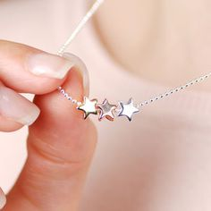 Personalised Triple Star Necklace New Photo Style, Star Necklace, Personalized Jewelry, Unique Gifts, Cufflinks, Silver, Stuff To Buy, Personalised Jewellery, Original Gifts